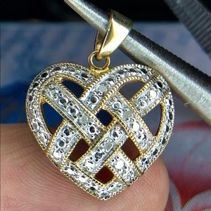 Jewelry - 925 Silver & Gold woven Heart Pendant & Chain